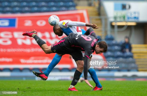 Leeds United's Patrick Bamford battles with Blackburn Rovers' Tosin Adarabioyo during the Sky Bet Championship match between Blackburn Rovers and...