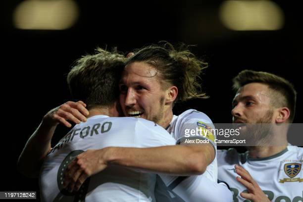 Leeds United's Patrick Bamford celebrates scoring his side's third goal with Luke Ayling during the Sky Bet Championship match between Leeds United...