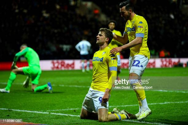 Leeds United's Patrick Bamford celebrates scoring the opening goal during the Sky Bet Championship match between Preston North End and Leeds United...