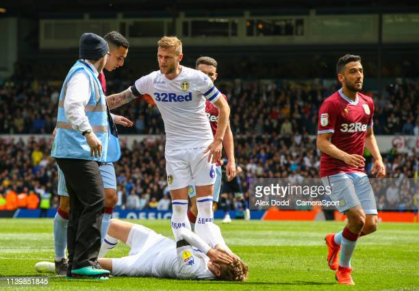 Leeds United's Patrick Bamford goes down clutching his face after his side scored a contentious goal during the Sky Bet Championship match between...