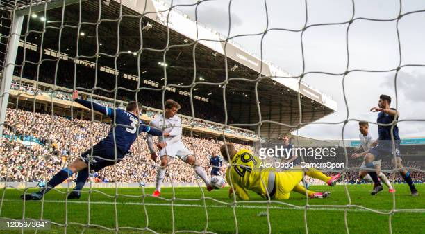 Leeds United's Patrick Bamford scores his side's second goal during the Sky Bet Championship match between Leeds United and Huddersfield Town at...