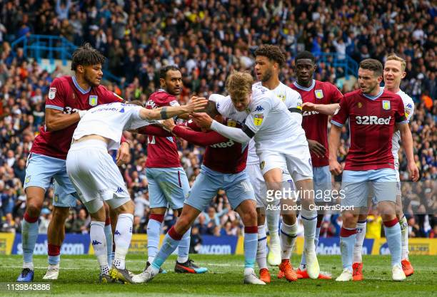 Leeds United's Patrick Bamford wrestles with Aston Villa's Conor Hourihane during the Sky Bet Championship match between Leeds United and Aston Villa...