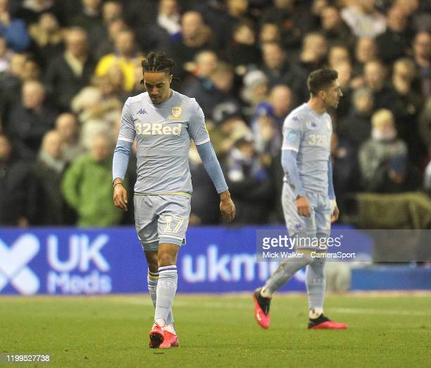 Leeds United's players look dejected during the Sky Bet Championship match between Nottingham Forest and Leeds United at City Ground on February 8...