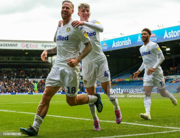 Leeds United's Pontus Jansson celebrates scoring his side's equalising goal with Jack Clarke during the Sky Bet Championship match between Leeds...