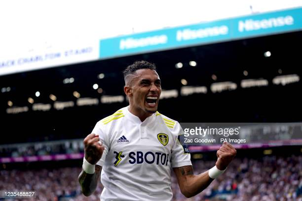 Leeds United's Raphinha celebrates scoring the opening goal during the Premier League match at Elland Road, Leeds. Picture date: Saturday September...