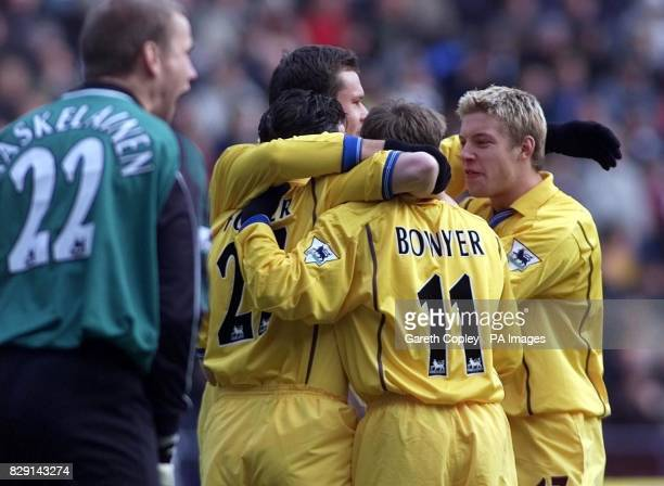 Leeds United's Robbie Fowler celebrates his goal agasint Bolton with teammates Lee Bowyer and Alan Smith during the Barclaycard Premiership match at...