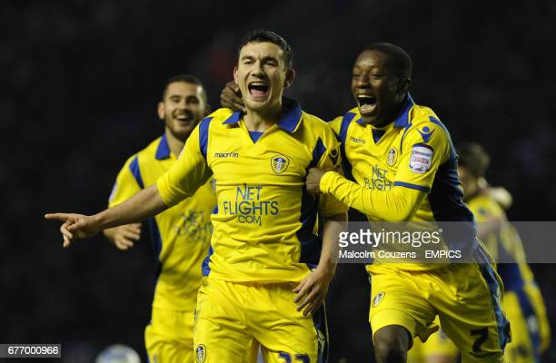 Leeds United's Robert Snodgrass celebrates his wonder goal with teammates Bradley Johnson and Max Gradel