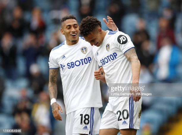 Leeds United's Rodrigo celebrates scoring their side's first goal of the game during the Premier League match at Elland Road, Leeds. Picture date:...