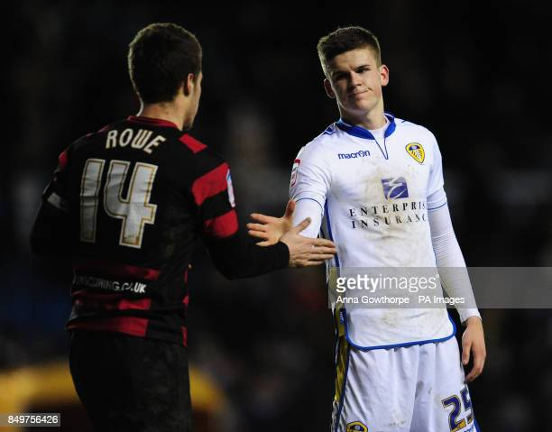 Leeds United's Sam Byram and Peterborough United's Tommy Rowe shake hands after the final whistle during the npower Championship match at Elland Road...