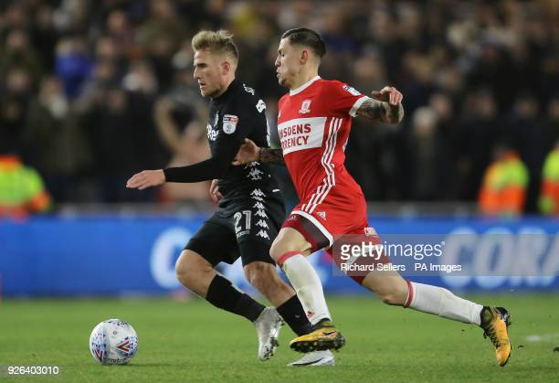 Leeds United's Samuel Saiz and Middlesbrough's Mo Besic battle for the ball during the Sky Bet Championship match at the Riverside Stadium...