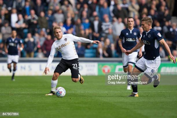 Leeds United's Samuel Saiz in action during the Sky Bet Championship match between Millwall and Leeds United at The Den on September 16 2017 in...
