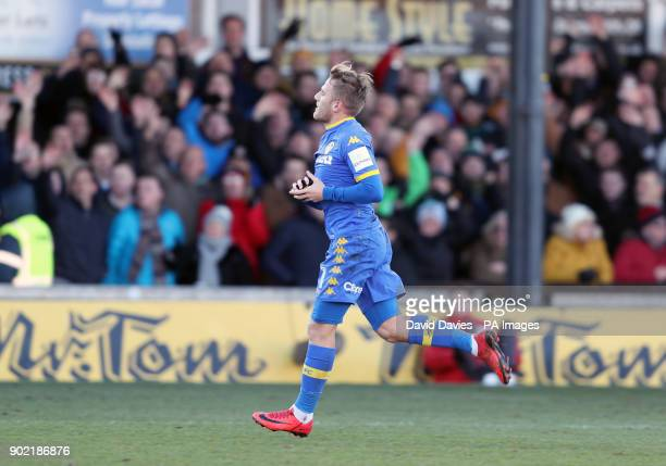 Leeds United's Samuel Saiz is sent off during the Emirates FA Cup Third Round match at Rodney Parade Newport