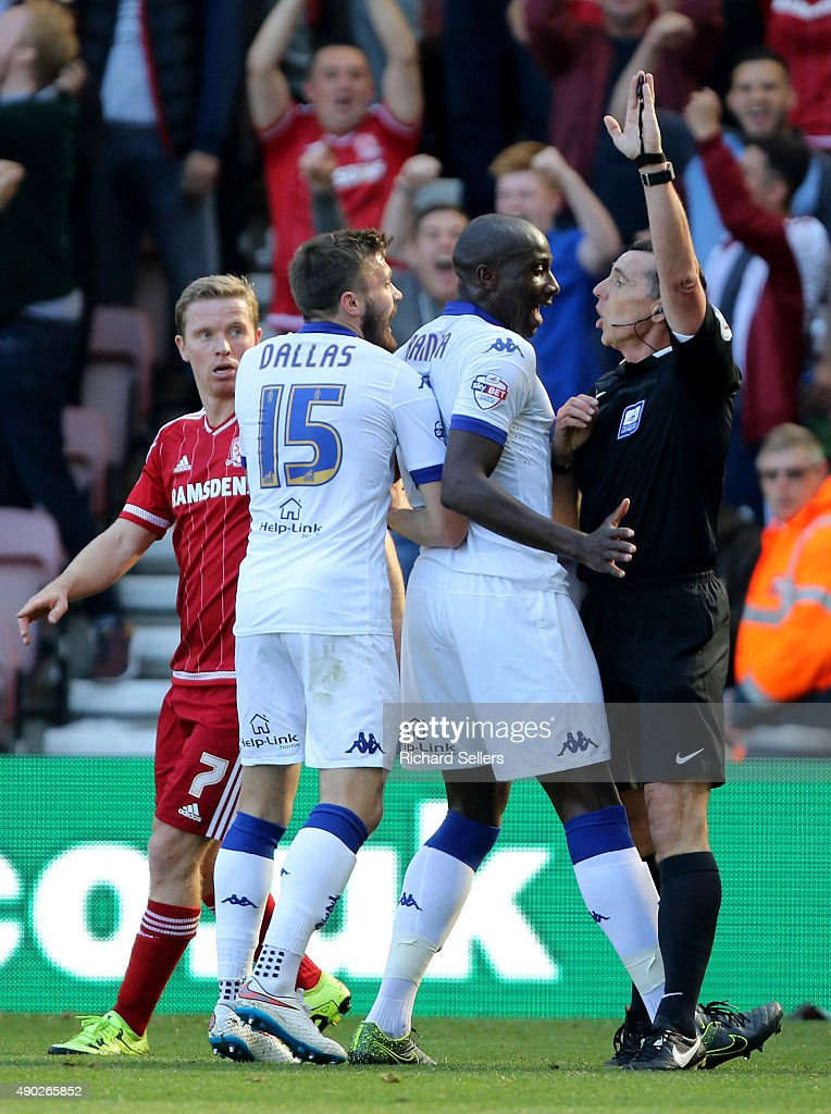 Leeds United's Sol Bamba complains to the referee Neil Swarbirck as Leeds goal is disallowed during the Sky Bet Championship match between Middlesbrough and Leeds United at the Riverside on September 27, 2015 in Middlesbrough, England.