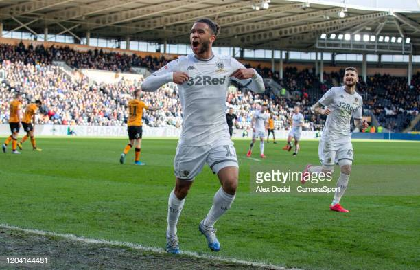 Leeds United's Tyler Roberts celebrates scoring his side's third goal during the Sky Bet Championship match between Hull City and Leeds United at...