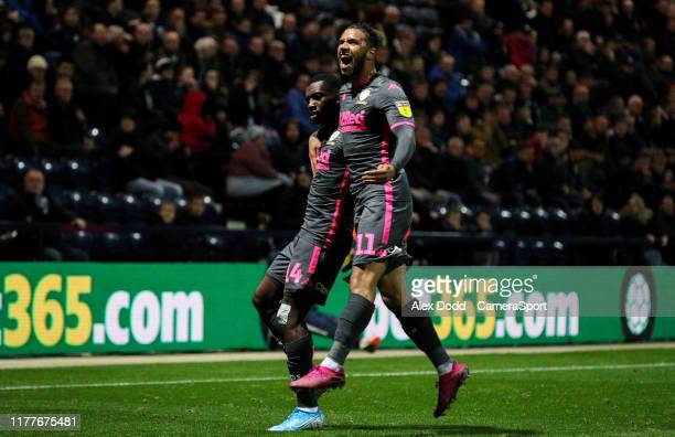 Leeds United's Tyler Roberts celebrates with Eddie Nketiah after Nketiah scored a late equaliser during the Sky Bet Championship match between...