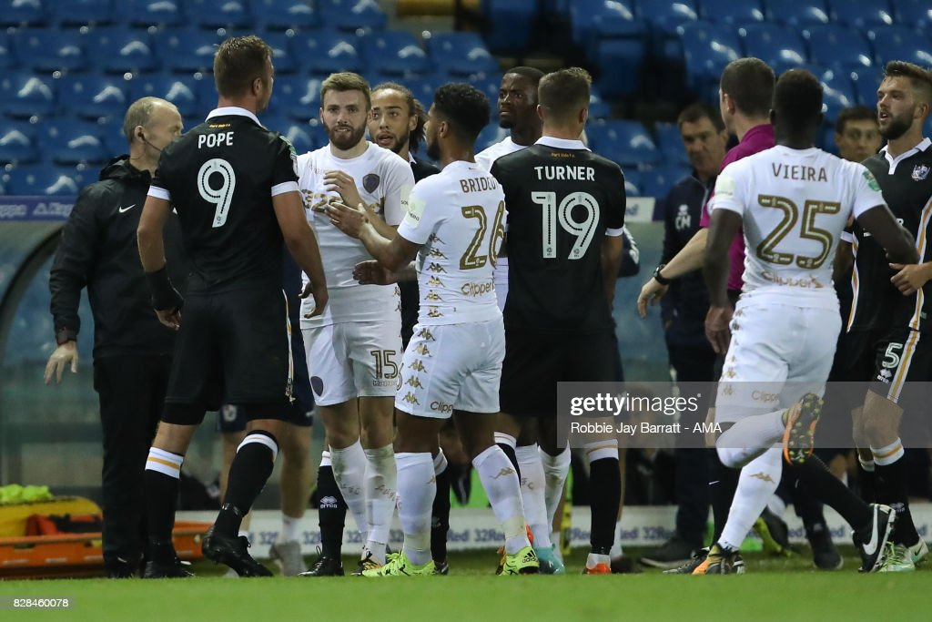 Leeds Untied players and Port Vale players have a disagreement during the Carabao Cup First Round match between Leeds United and Port Vale at Elland Road on August 9, 2017 in Leeds, England.