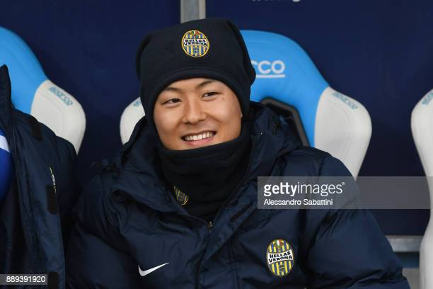 Leee SeungWoo of Hellas Verona looks on before the Serie A match between Spal and Hellas Verona FC at Stadio Paolo Mazza on December 10 2017 in...