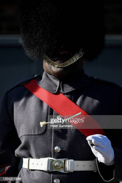 A leek adorns a member of the Welsh Guards' uniform during a parade on St David's Day on March 1 2020 in Windsor England The 1st Battalion Welsh...