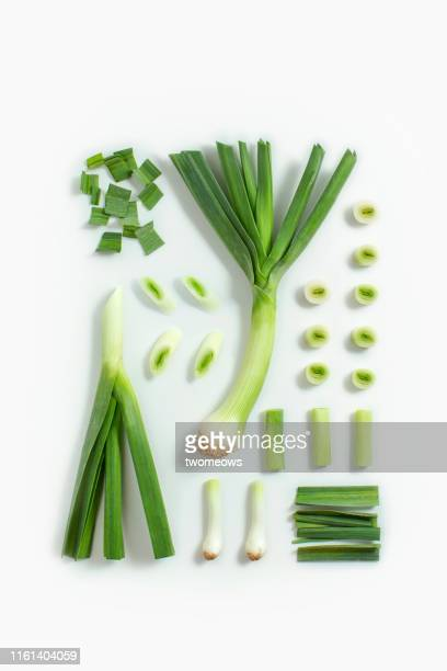 leek flat lay image. - leek stock pictures, royalty-free photos & images