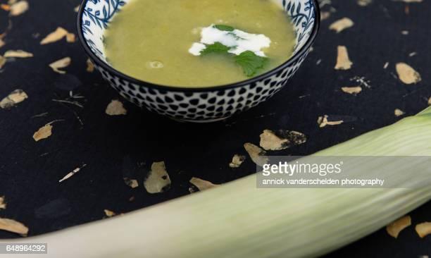 Leek soup and leek stalk.