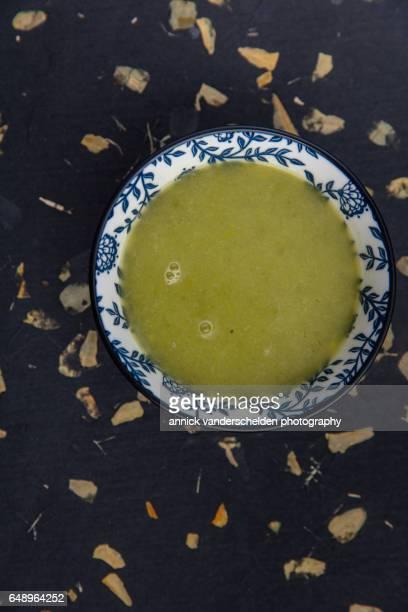 Leek soup in bowl.