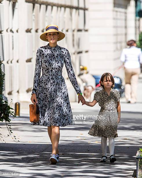 Leelee Sobieski and daughter Louisanna Ray Kimmel are seen taking casual stroll on Upper East Side on September 15 2015 in New York City