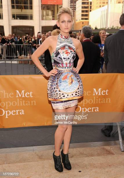 Leelee Sobieski attends the 2011 Metropolitan Opera Season opening night performance of 'Anna Bolena' at The Metropolitan Opera House on September 26...