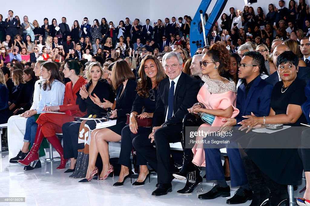 Leelee Sobieski, Chiara Mastroianni, Erin O'Connor, Elizabeth Olsen, Guest, Emilia Clarke, CEO Dior Sidney Toledano with his wife Katia Toledano, Rihanna, her Brother and her Mother Monica Braithwaite attend the Christian Dior show as part of the Paris Fashion Week Womenswear Spring/Summer 2016. Held at Cour Carre du Louvre on October 2, 2015 in Paris, France.