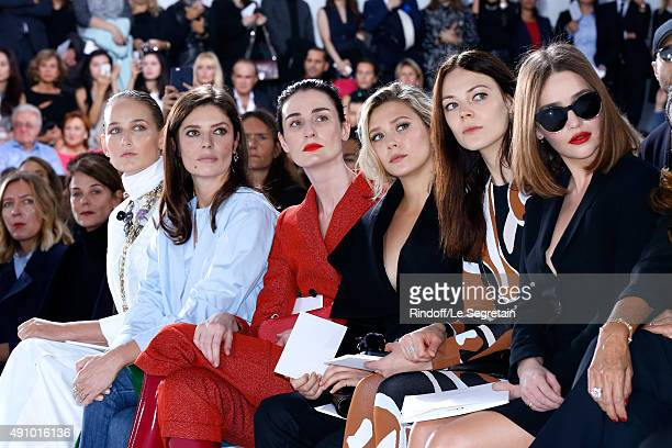 Leelee Sobieski Chiara Mastroianni Erin O'Connor Elizabeth Olsen Guest and Emilia Clarke attend the Christian Dior show as part of the Paris Fashion...