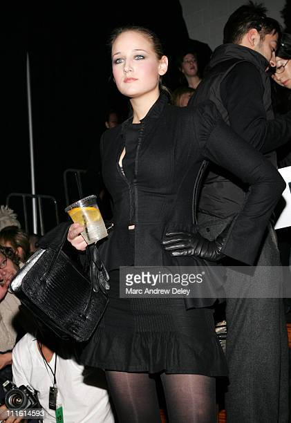 Leelee Sobieski during MercedesBenz Fashion Week Fall 2007 Adidas Y3 Front Row and Backstage at 902 Lexington Avenue in New York City New York United...