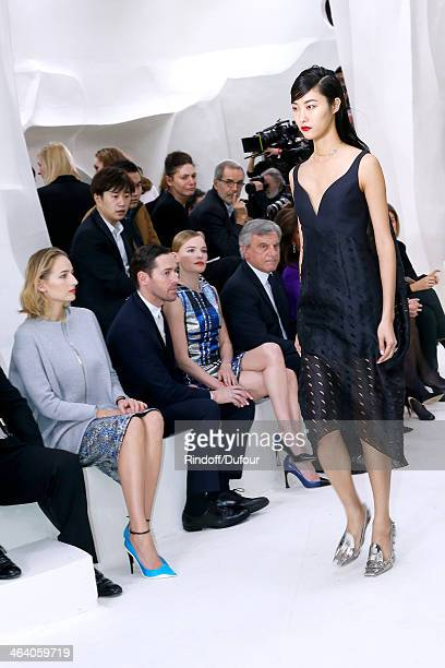 Leelee Sobieski, Kate Bosworth with her husband Michael Polish and CEO Dior Sidney Toledano attend the Christian Dior show as part of Paris Fashion...