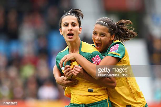 Leena Khamis of Australia celebrates her goal with teammate Samantha Kerr during the FIFA Women's World Cup 2011 Group D match between Australia and...