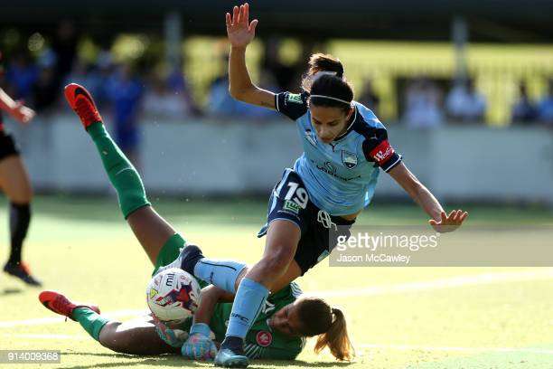 Leena Khamis of Sydney and Jada MathyssenWhyman of the Wanderers during the round 14 WLeague match between Sydney FC and the Western Sydney Wanderers...