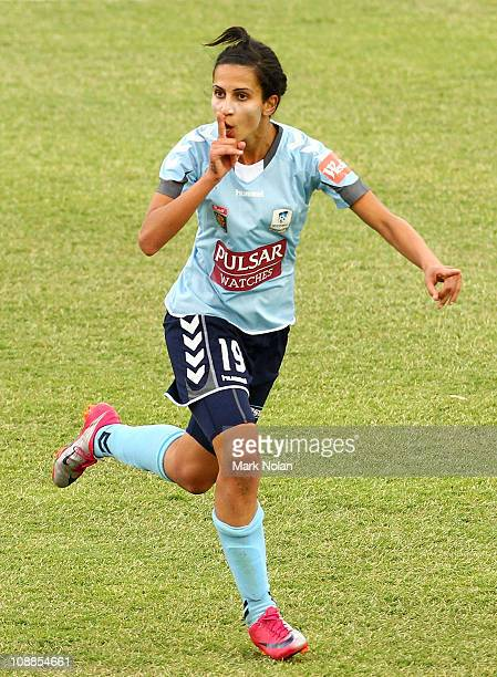 Leena Khamis of Sydney celebrates a goal during the W-League semi final match between Sydney FC and the Melbourne Victory at Campbelltown Sports...