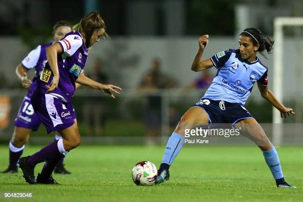 Leena Khamis of Sydney controls the ball during the round 11 WLeague match between the Perth Glory and Sydney FC at Dorrien Gardens on January 14...