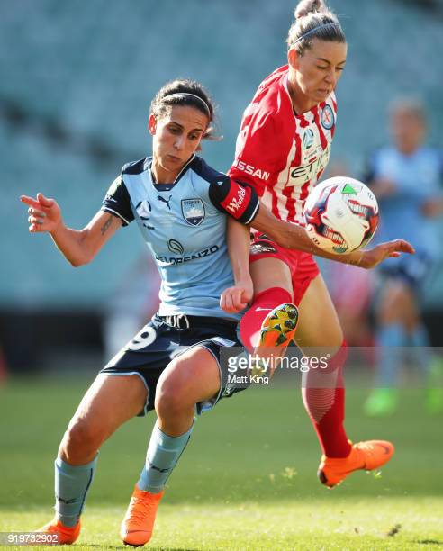 Leena Khamis of Sydney FC competes for the ball against Alanna Kennedy of Melbourne City during the WLeague Grand Final match between Sydney FC and...