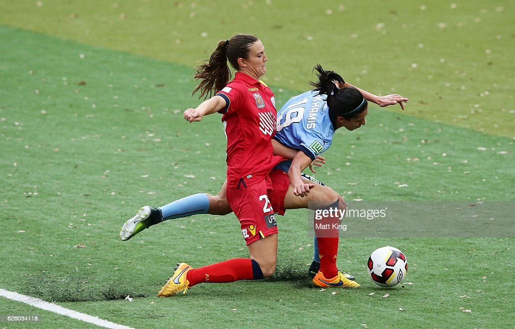 Leena Khamis of Sydney FC is challenged by Katie Naughton of United in the box during the round four W-League match between Sydney FC and Adelaide United at Seymour Shaw on November 27, 2016 in Sydney, Australia.