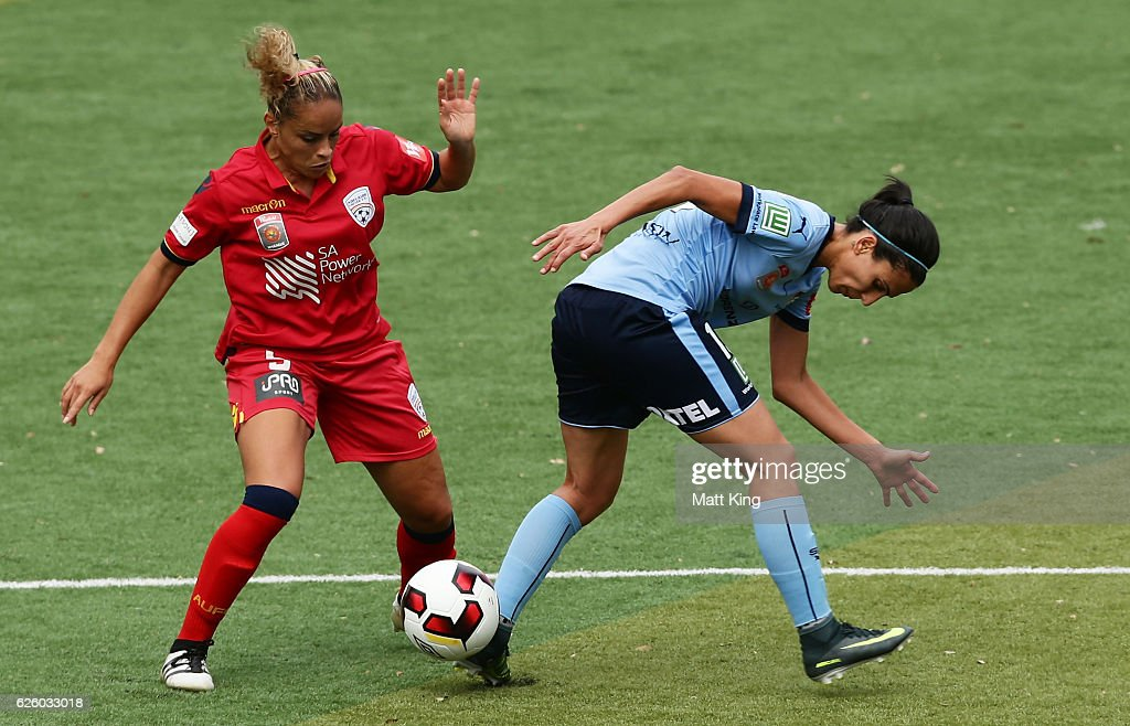 Leena Khamis of Sydney FC is challenged by Monica of United during the round four W-League match between Sydney FC and Adelaide United at Seymour Shaw on November 27, 2016 in Sydney, Australia.