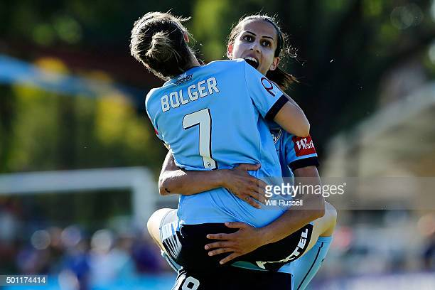 Leena Khamis of Sydney is congratulated by teammates after scoring a goal during the round nine WLeague match between the Perth Glory and Sydney FC...