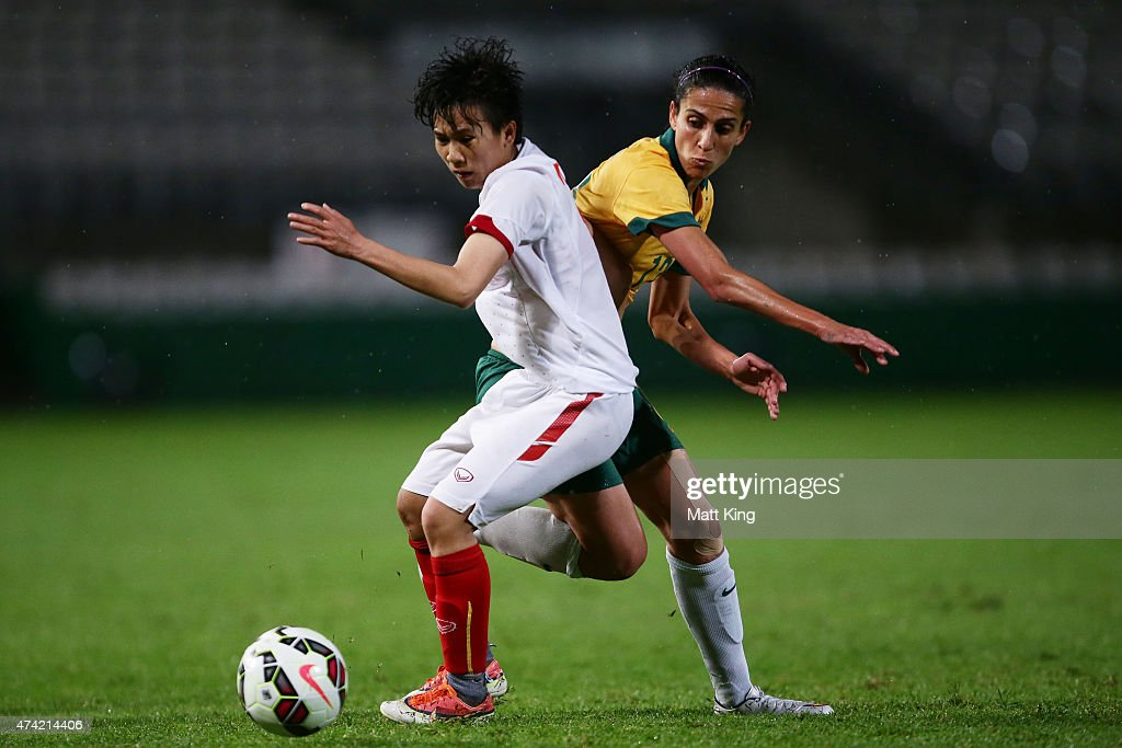 Leena Khamis of the Matildas competes for the ball against Nguyen Thi Tuyet Dung of Vietnam during the international women's friendly match between the Australian Matildas and Vietnam at WIN Jubilee Stadium on May 21, 2015 in Sydney, Australia.