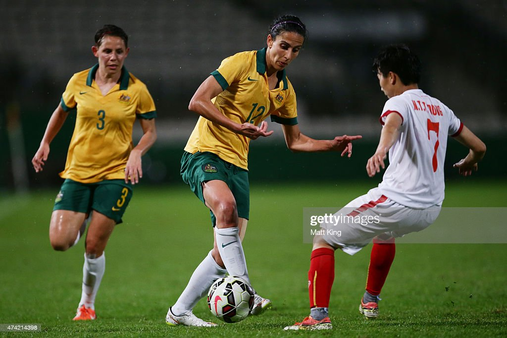 Leena Khamis of the Matildas controls the ball during the international women's friendly match between the Australian Matildas and Vietnam at WIN Jubilee Stadium on May 21, 2015 in Sydney, Australia.