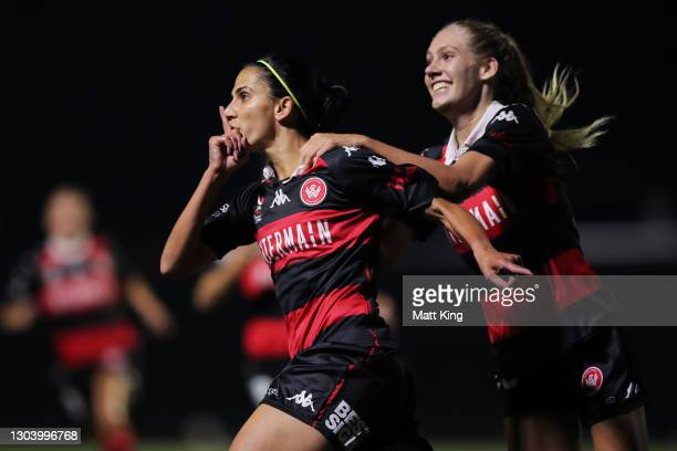 Leena Khamis of the Wanderers celebrates with team mates after scoring a goal during the round 10 W-League match between the Western Sydney Wanderers...
