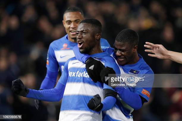 Leeroy Owusu of De Graafschap celebrating the goal scored after a free kick with Delano Burgzorg of De Graafschap Azor Matusiwa of De Graafschap...