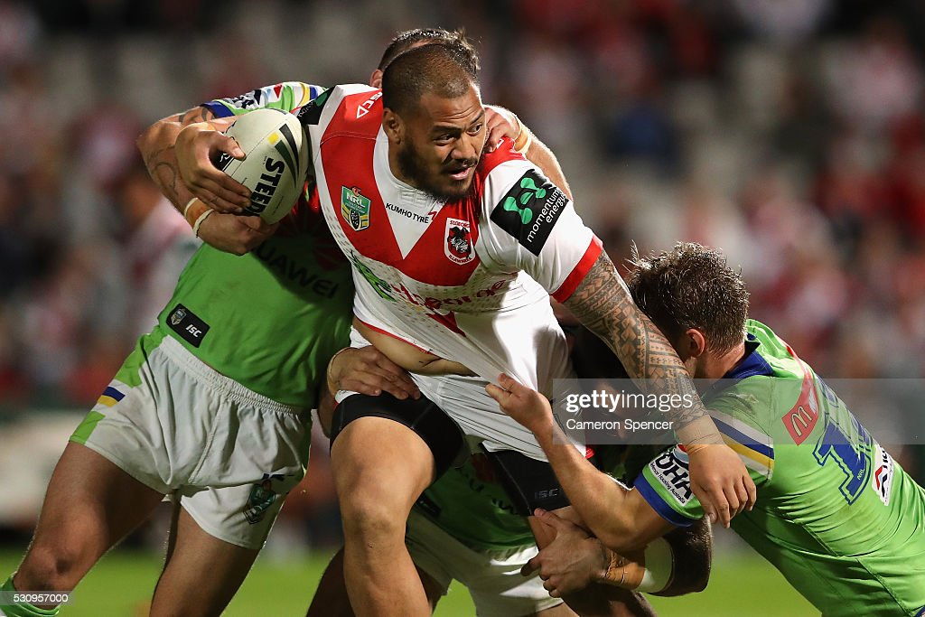 Leeson Ah Mau of the Dragons is tackled during the round 10 NRL match between the St George Illawarra Dragons and the Canberra Raiders on May 12, 2016 in Sydney, Australia.