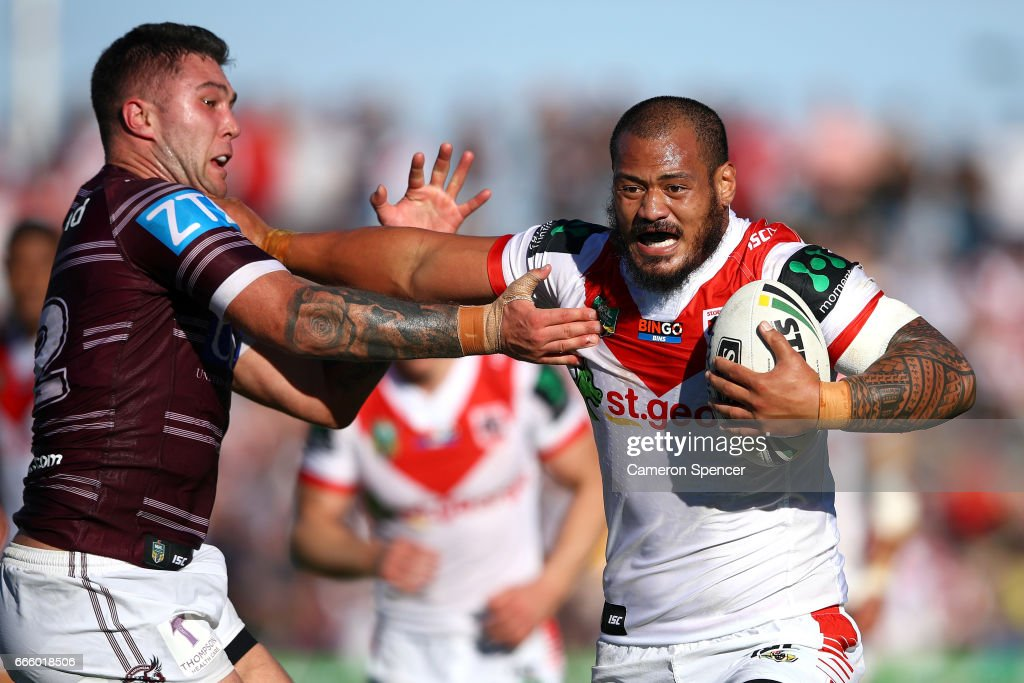 Leeson Ah Mau of the Dragons makes a break during the round six NRL match between the Manly Sea Eagles and the St George Illawarra Dragons at Lottoland on April 8, 2017 in Sydney, Australia.