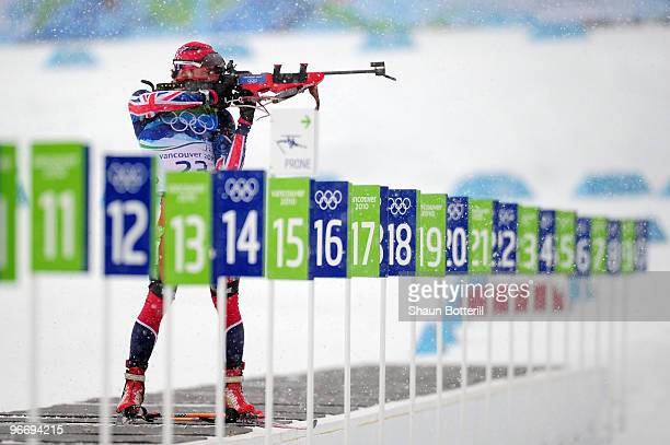 LeeSteve Jackson of Great Britain and Northern Ireland competes in the men's biathlon 10 km sprint final during the Biathlon Men's 10 km Sprint on...