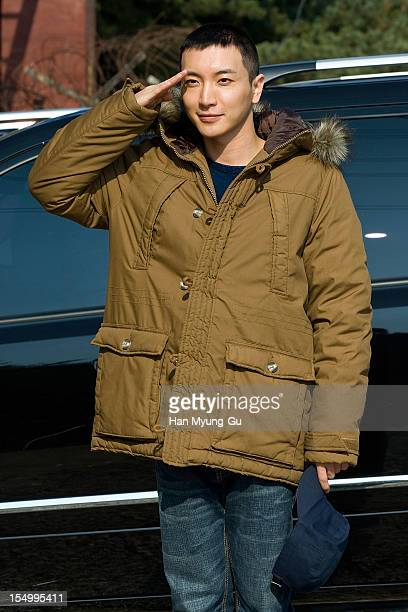 Leeteuk of South Korean boy band Super Junior poses for media before joining the military on October 30, 2012 in Uijeongbu , South Korea.