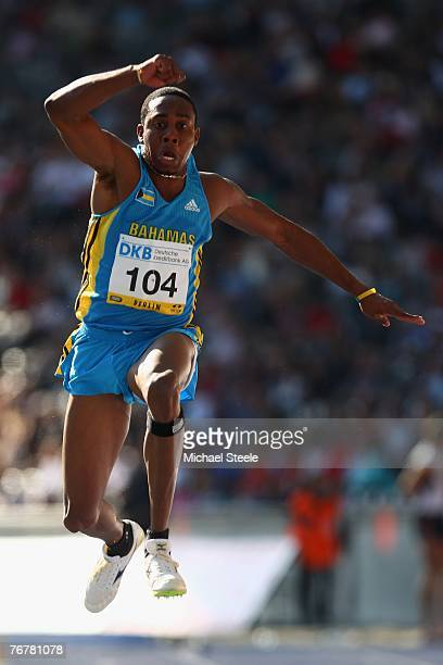 Leevan Sands of the Bahamas competes in the men's triple jump during the IAAF Golden League ISTAF meet at the Olympic Stadium September 16 2007 in...