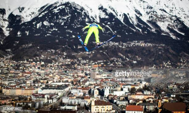 Leevi Mutru of Finland jumps during the ski jumping training for the Nordic Combined ahead of the FIS Nordic World Ski Championships the on February...