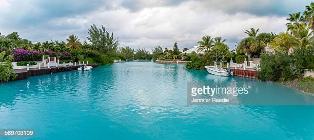leeward canal residential waterway, turks and caic - turks and caicos islands stock pictures, royalty-free photos & images